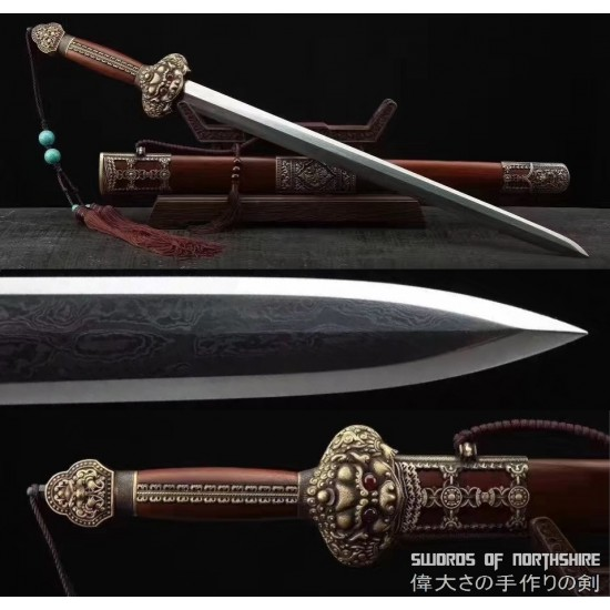Emperor Yongle Ming Dynasty Hand Forged Clay Tempered & Folded Damascus Steel Tai Chi Jian Sword
