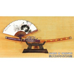 Clay Tempered & Folded 1095 Steel Gold-Plated Copper Fittings Japanese Samurai Tachi Sword