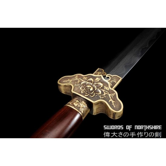 Clay Tempered & Folded Damascus Steel Sword Hand Forged Blade Battle Ready Tai Chi Jian