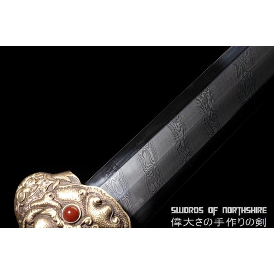 Ming Dynasty Emperor Yong Le Jian Hand Forged Clay Tempered Folded Steel Blade Jian Sword