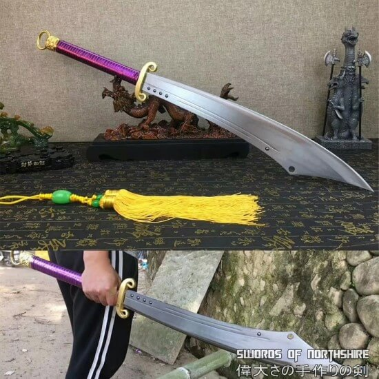 Hand Forged Chinese Dao Broadsword 1095 Carbon Steel Leather Sheath Oxtail Saber Sword