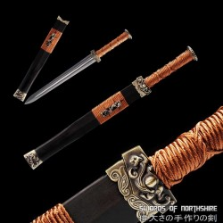 Red Cliff Short Sword Hand Forged Folded Steel Dagger Blade Battle Ready Chinese Jian Knife
