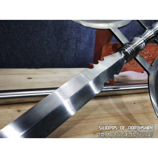 Three Kingdoms Chinese Double Halberd Spear Hand Forged Folded Steel Elite Military Weapon