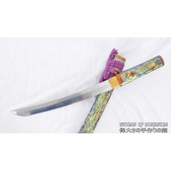 Mother of Pearl & Shell Shirasaya Feather Grain Pattern Hand Forged Folded Steel Tanto Knife