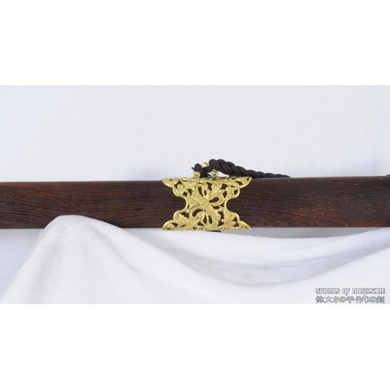 Hand Forged Folded Steel Double Edge Blade Jian Kung Fu Chinese Martial Arts Tai Chi Sword