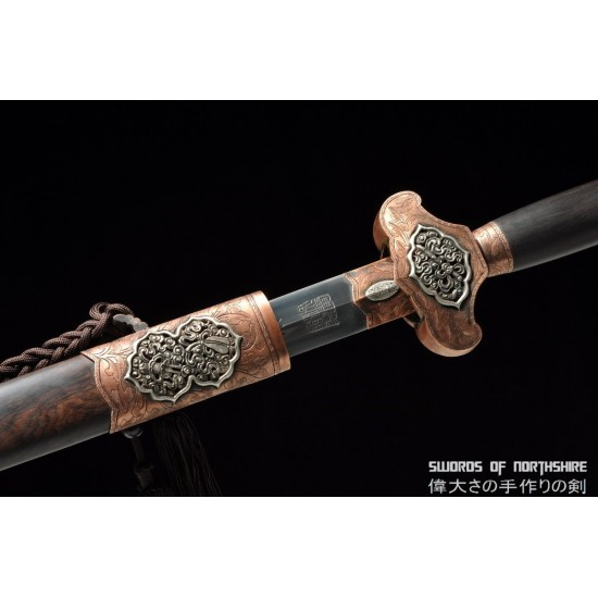 Warrior's Respite Chinese Sword Hand Forged Folded Steel Blade Battle Ready Tai Chi Jian