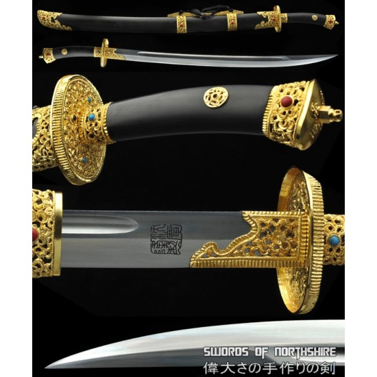 Gemstones Gold Plated Chinese Sword Folded Steel Blade Kung Fu Martial Arts Tai Chi Dao