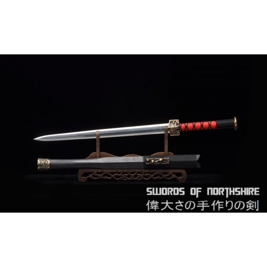 Han Dynasty Eight-Sided / Double Groove / Red Blade Jian Folded Steel Chinese Sword
