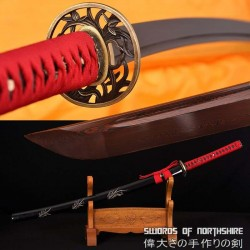 Hand Forged Black and Red Folded Damascus Steel Hand Carved Saya Katana Sword