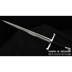 Hand Forged Folded Damascus 1095 Steel Medieval Feudal European Straight Blade Broadsword