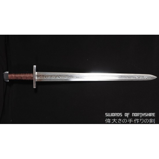 Medieval European Viking Sword Hand Forged Double Edged 1095 Folded Steel Blade