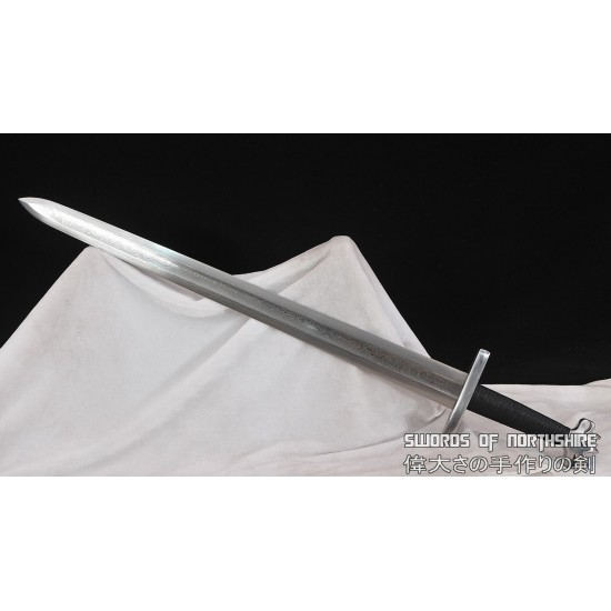 Hand Forged Medieval European Viking Sword Double Edged 1095 Folded Steel Straight Blade