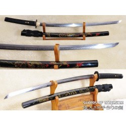 1095 High Carbon Steel Clay Tempered Dragon Samurai Katana Sword