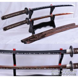 1095 High Carbon Steel Black Blade and Red Folded Steel Samurai Katana Sword Set