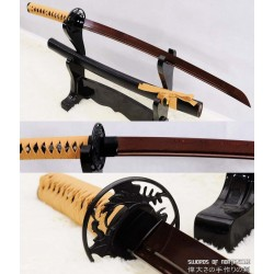 Hand Forged Red Folded Steel Custom Samurai Wakizashi Sword