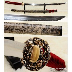 1095 High Carbon Steel Clay Tempered Katana with Full Rayskin Wrapped Saya