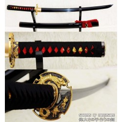 Hand Forged Black Folded Steel Custom Samurai Dragon Wakizashi Sword