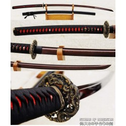 Hand Forged Red and Black Folded Steel Samurai Dragon Odachi Sword