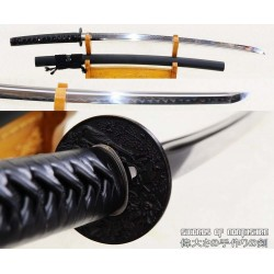Clay Tempered 1095 High Carbon Steel All Black Samurai Katana Sword