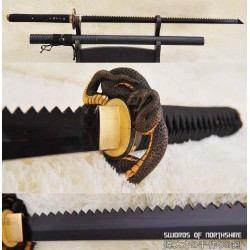 Hand Forged Black Folded Steel Ninjato Saw-tooth Blade Ninja Serpent Shikoro Gatana Sword