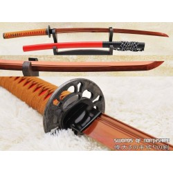 High Carbon 1095 Red Steel Clay Tempered Unokubi Zukuri Samurai Katana Sword