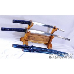 Hand Forged Folded Steel Katana & Wakizashi Blue Dragon Samurai Sword Set