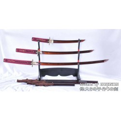 Hand Forged Red and Black Folded Steel Katana Wakizashi & Tanto Samurai Sword Set