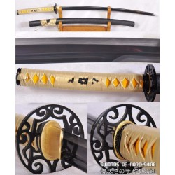 Hand Forged 1095 High Carbon Black Steel Double-Edged Katana Samurai Sword