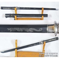 Hand Forged Ninjato Black Folded Steel Samurai Chokuto Ninja Sword
