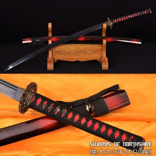 Hand Forged 1060 High Carbon Black Steel Blade Full Tang Samurai Katana Sword