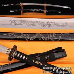 Hand Forged Folded Damascus Steel Clay Tempered Samurai Katana Dragon Sword