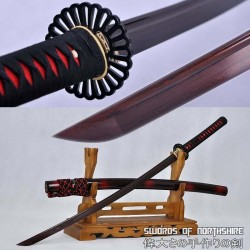 Hand Forged Black and Red Folded Damascus Steel Samurai Katana Sword