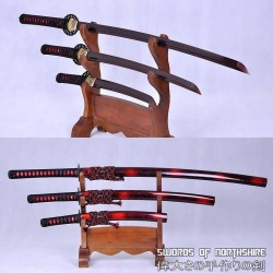 Hand Forged Black and Red Folded Steel Samurai Sword Set Katana Wakizashi & Tanto