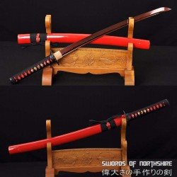 Hand Forged Black and Red Folded Damascus Steel Samurai Crane Wakizashi Sword
