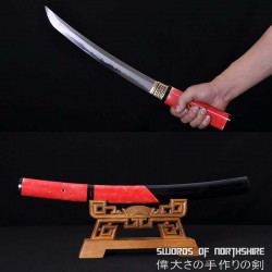 Clay Tempered T-10 High Speed Steel Rayskin Samurai Tanto Sword w/ Hazuya Polish