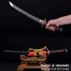 Gyaku-Kobuse Clay Tempered 1095 High Carbon Steel + Folded Steel Samurai Tanto Sword