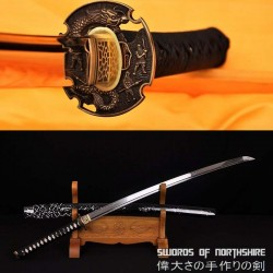 Hand Forged 1095 High Carbon Steel Clay Tempered Dragon Samurai Katana Sword