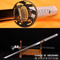 Hand Forged 1095 High Carbon Steel Clay Tempered Koi Fish Samurai Ninja Sword
