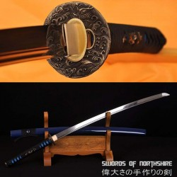 Hand Forged 1060 High Carbon Steel Blade Full Tang Ocean Wave Samurai Katana Sword
