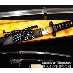 1095 High Carbon Steel Clay Tempered Katana with Rayskin Wrapped Saya