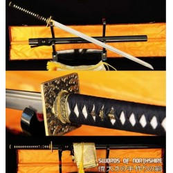 Hand Forged Folded Steel Straight Blade Katana Ninjato Wave Chokuto Sword