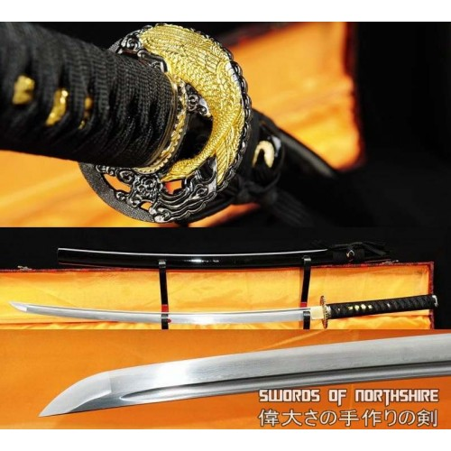 Hand Forged Folded Steel Blade Samurai Sword Golden Crane Katana