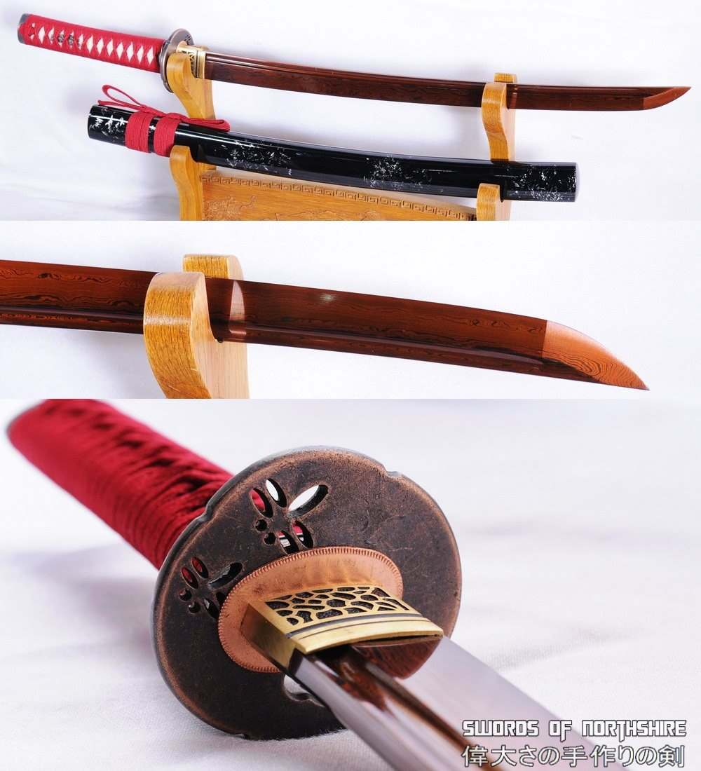 hand forged red and black folded steel blade samurai wakizashi sword