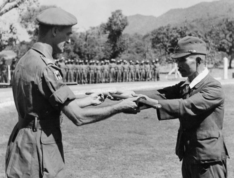 Japanese general surrendering his sword