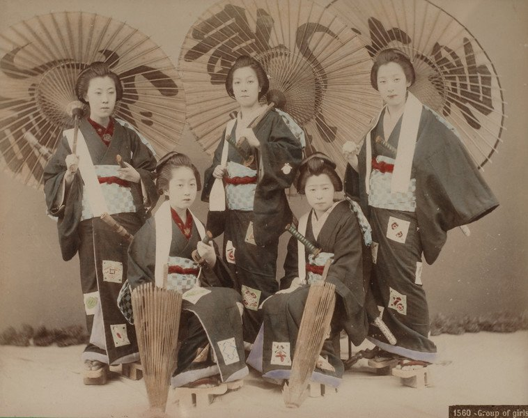 group of girls in traditional japanese attire