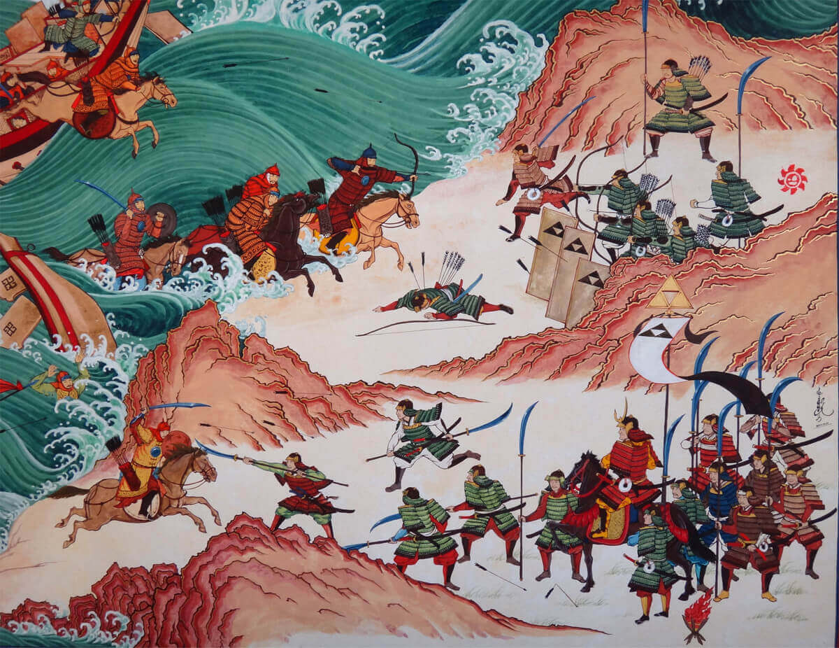 drawing of the Mongol invasion of Japan