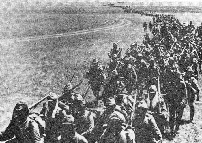 Japanese forces marching on Nomonhan