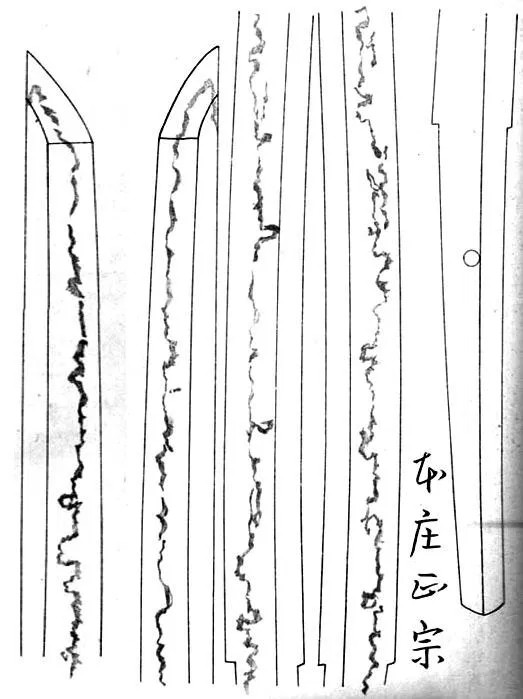 Line drawing of the Masamune katana hamon for authentication