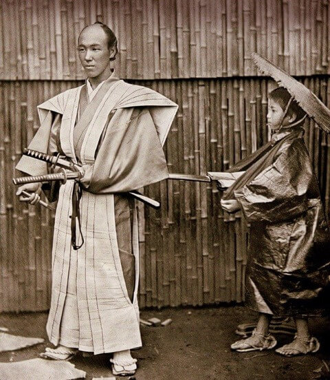 samurai with a katana and wakizashi blade